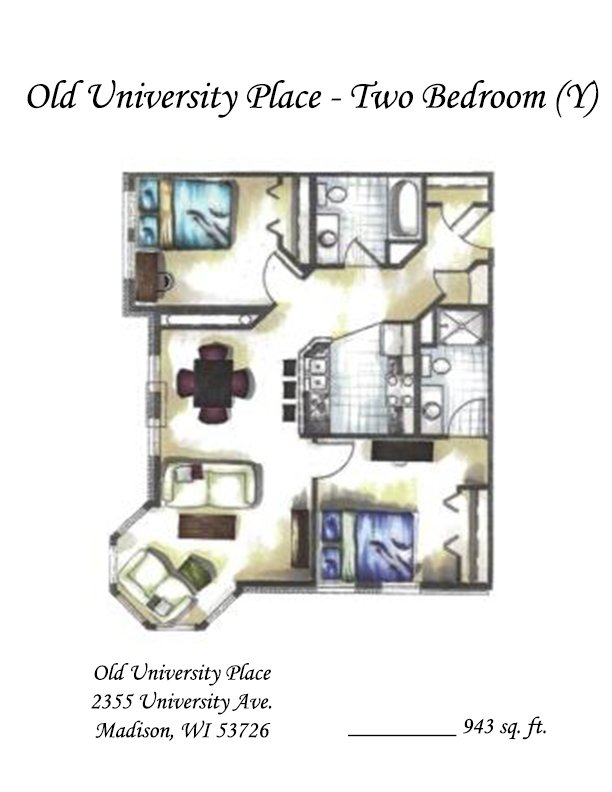 2 Bedrooms 2 Bathrooms Apartment for rent at Old University Place in Madison, WI