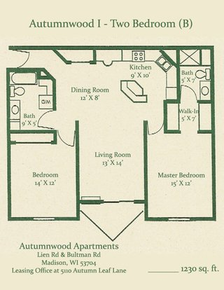 2 Bedrooms 1 Bathroom Apartment for rent at Autumnwood in Madison, WI