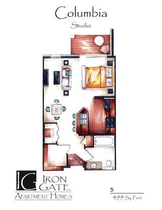 Studio 1 Bathroom Apartment for rent at Iron Gate in Sun Prairie, WI