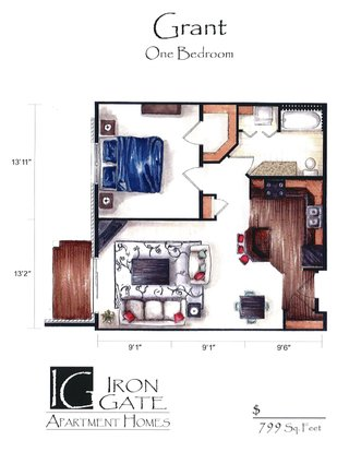 1 Bedroom 1 Bathroom Apartment for rent at Iron Gate in Sun Prairie, WI