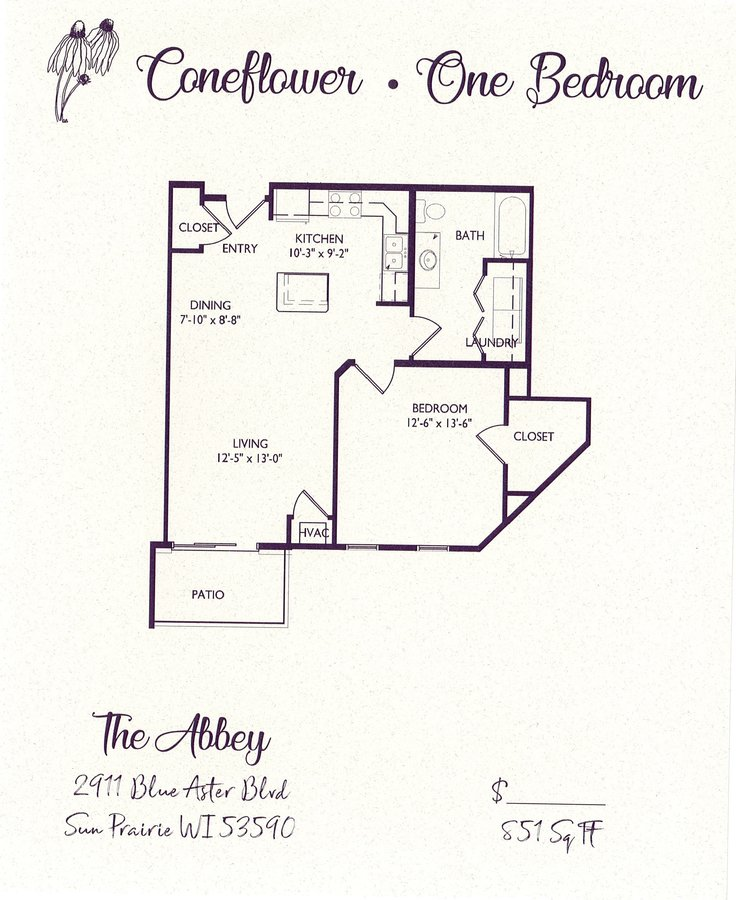 1 Bedroom 1 Bathroom Apartment for rent at The Abbey in Sun Prairie, WI