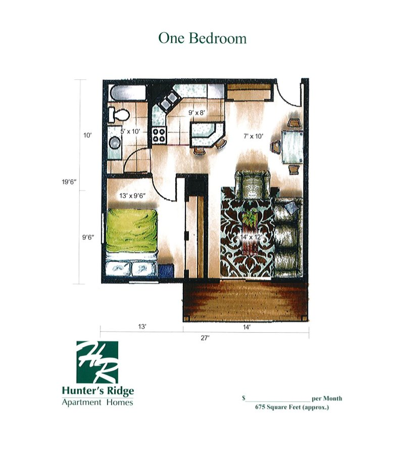 1 Bedroom 1 Bathroom Apartment for rent at Hunter's Ridge in Sun Prairie, WI
