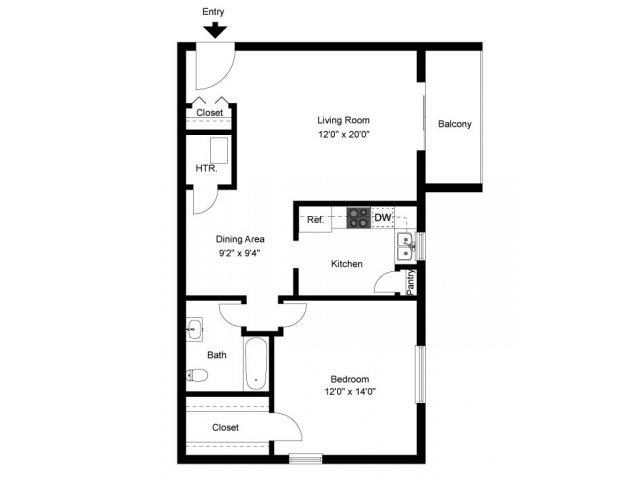1 Bedroom 1 Bathroom Apartment for rent at Oak Tree Apartments in Newark, DE