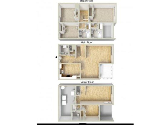 3 Bedrooms 2 Bathrooms Apartment for rent at Fairway Park Apartments & Townhomes in Wilmington, DE