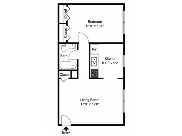 1 Bedroom 1 Bathroom Apartment for rent at Boothwyn Court Apartments in Boothwyn, PA
