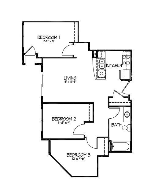 3 Bedrooms 1 Bathroom Apartment for rent at Telluride Apartments in Iowa City, IA