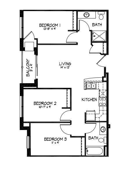 3 Bedrooms 2 Bathrooms Apartment for rent at Telluride Apartments in Iowa City, IA