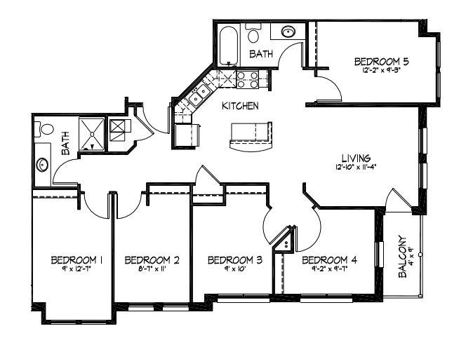 5 Bedrooms 2 Bathrooms Apartment for rent at Telluride Apartments in Iowa City, IA