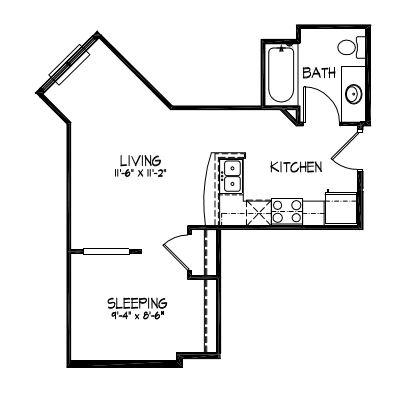 Studio 1 Bathroom Apartment for rent at Telluride Apartments in Iowa City, IA