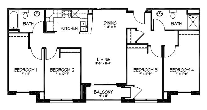 4 Bedrooms 2 Bathrooms Apartment for rent at Telluride Apartments in Iowa City, IA
