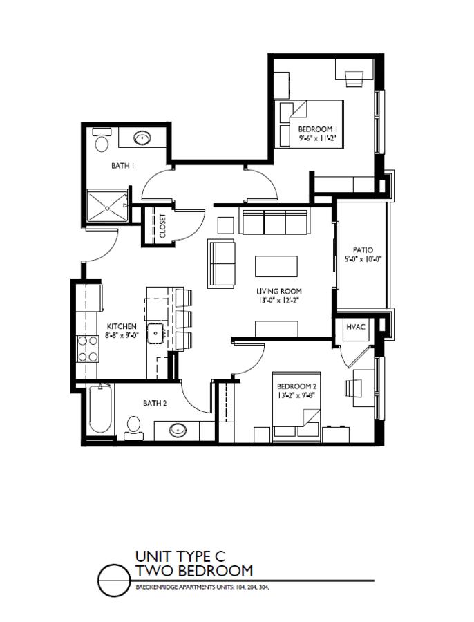 2 Bedrooms 2 Bathrooms Apartment for rent at Breckenridge Apartments in Iowa City, IA