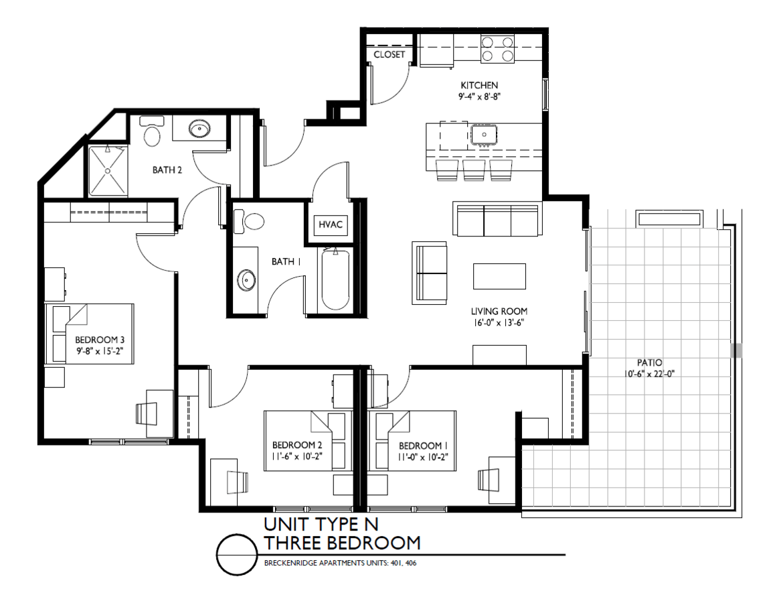 3 Bedrooms 2 Bathrooms Apartment for rent at Breckenridge Apartments in Iowa City, IA