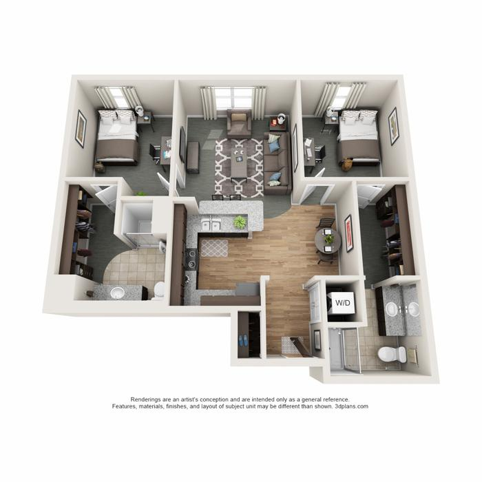 2 Bedrooms 2 Bathrooms Apartment for rent at Latitude in Champaign, IL