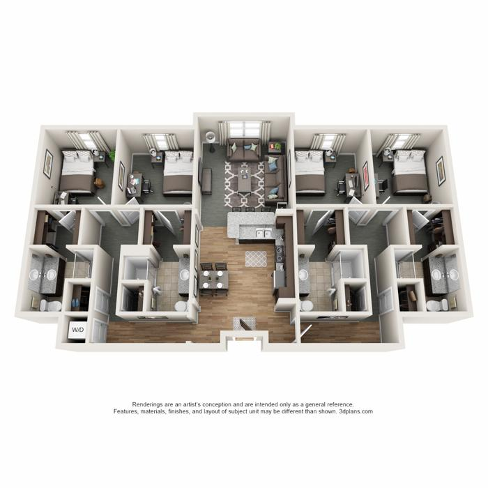 4 Bedrooms 4+ Bathrooms Apartment for rent at Latitude in Champaign, IL