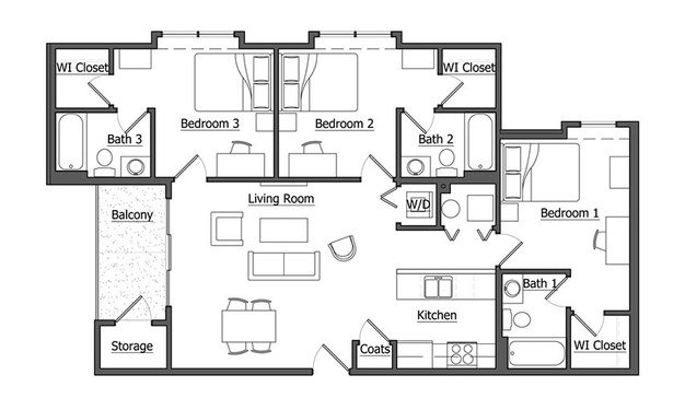 3 Bedrooms 3 Bathrooms Apartment for rent at The Pointe At U Of I in Urbana, IL