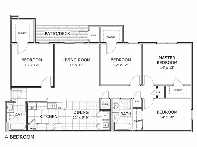 4 Bedrooms 2 Bathrooms Apartment for rent at Coryell Crossing in Springfield, MO