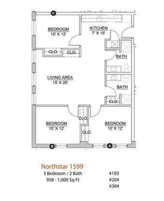 3 Bedrooms 2 Bathrooms Apartment for rent at Northstar in Minneapolis, MN