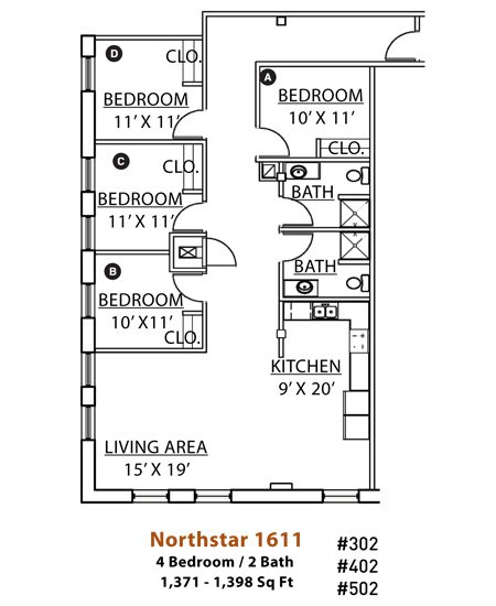 4 Bedrooms 2 Bathrooms Apartment for rent at Northstar in Minneapolis, MN