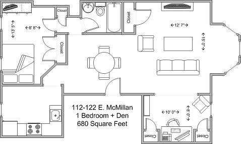 1 Bedroom 1 Bathroom Apartment for rent at 112-122 E Mcmillan in Cincinnati, OH