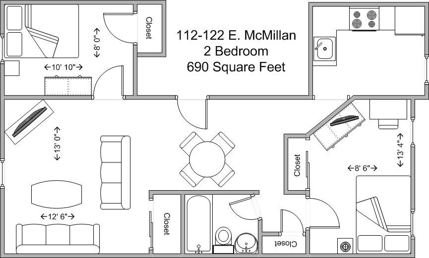 2 Bedrooms 1 Bathroom Apartment for rent at 112-122 E Mcmillan in Cincinnati, OH