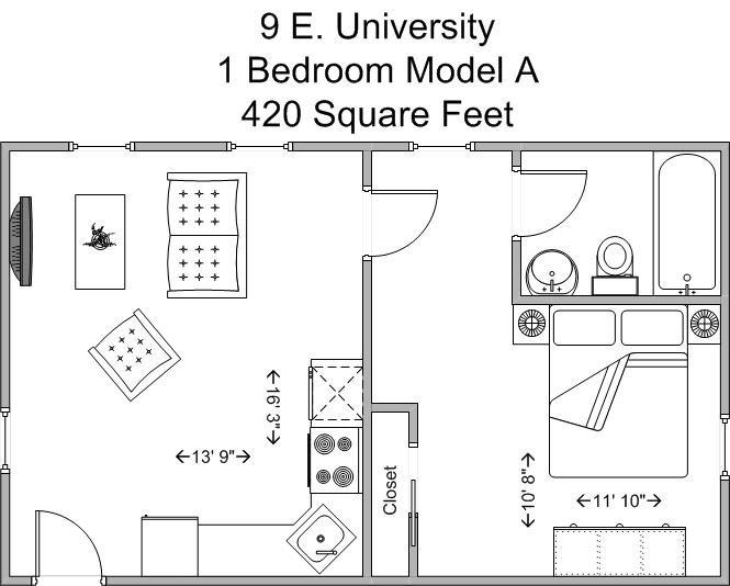 1 Bedroom 1 Bathroom Apartment for rent at 9 E University in Cincinnati, OH