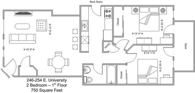 2 Bedrooms 2 Bathrooms Apartment for rent at 246-254 E University in Cincinnati, OH
