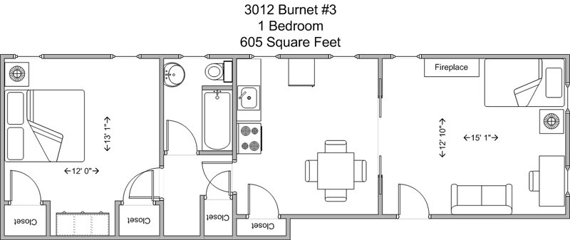 1 Bedroom 1 Bathroom Apartment for rent at 3012 Burnet in Cincinnati, OH