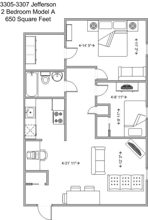 2 Bedrooms 1 Bathroom Apartment for rent at 3305-3307 Jefferson in Cincinnati, OH