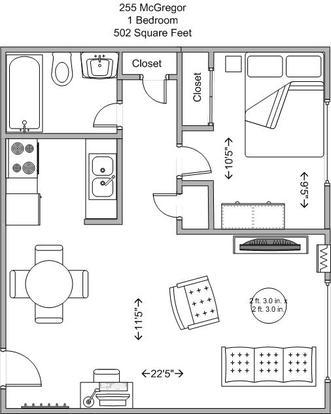 1 Bedroom 1 Bathroom Apartment for rent at 255 Mcgregor in Cincinnati, OH