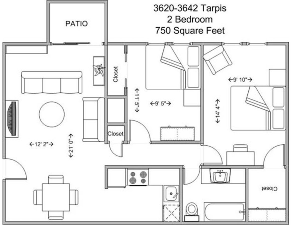 2 Bedrooms 1 Bathroom Apartment for rent at Tarpis Woods in Cincinnati, OH