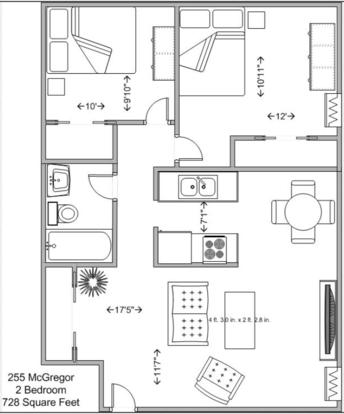 2 Bedrooms 1 Bathroom Apartment for rent at 255 Mcgregor in Cincinnati, OH