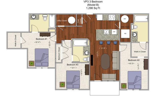 3 Bedrooms 3 Bathrooms Apartment for rent at V P 3 in Cincinnati, OH