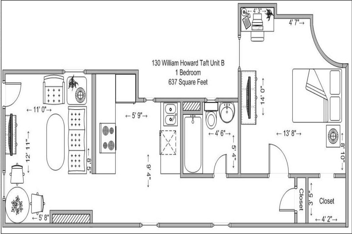 1 Bedroom 1 Bathroom Apartment for rent at 130-134 William Howard Taft in Cincinnati, OH