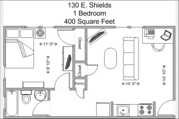 1 Bedroom 1 Bathroom Apartment for rent at 130 E Shields in Cincinnati, OH
