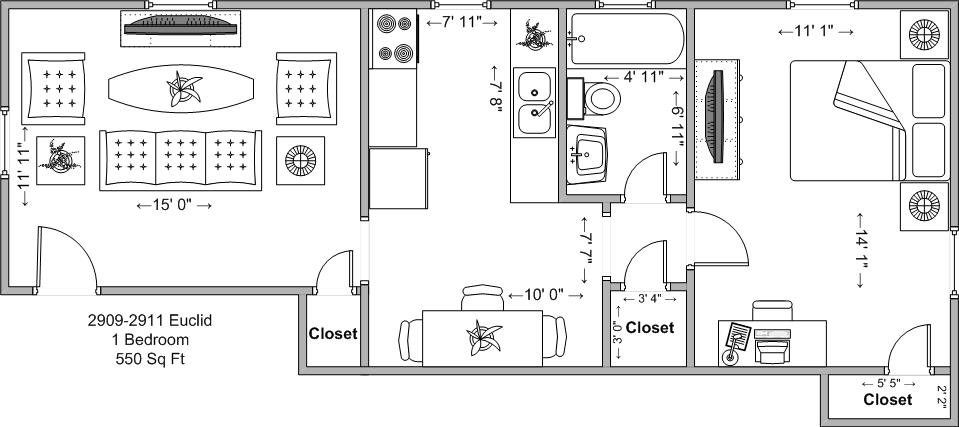 1 Bedroom 1 Bathroom Apartment for rent at 2909-2911 Euclid in Cincinnati, OH