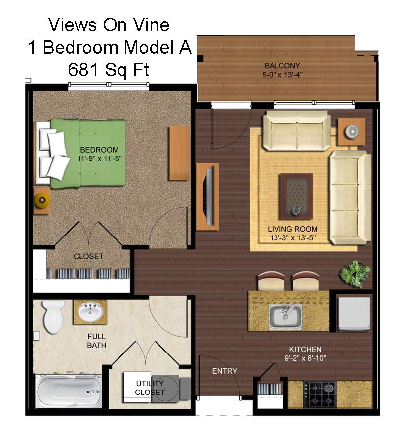 1 Bedroom 1 Bathroom Apartment for rent at Views On Vine in Cincinnati, OH