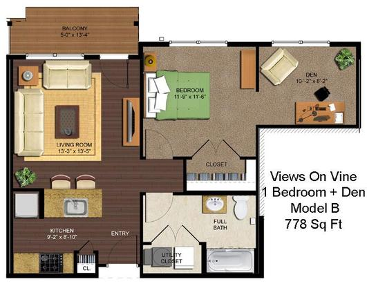 1 Bedroom 1 Bathroom Apartment for rent at Views On Vine in Cincinnati, OH