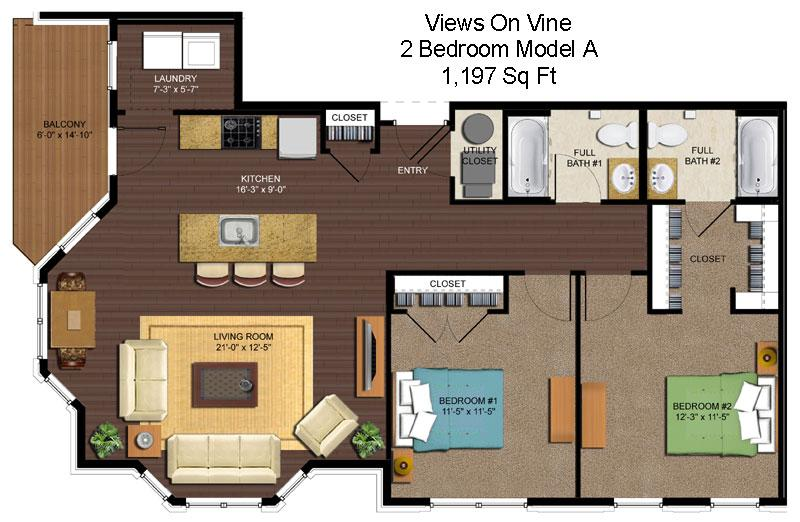 2 Bedrooms 2 Bathrooms Apartment for rent at Views On Vine in Cincinnati, OH