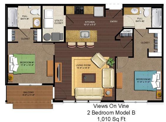 2 Bedrooms 2 Bathrooms Apartment for rent at Views On Vine in Cincinnati, OH