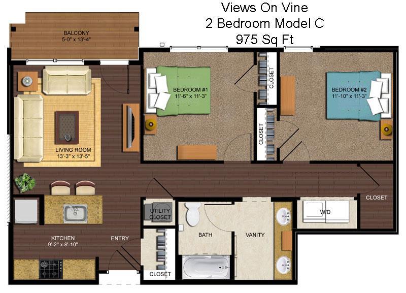 2 Bedrooms 1 Bathroom Apartment for rent at Views On Vine in Cincinnati, OH