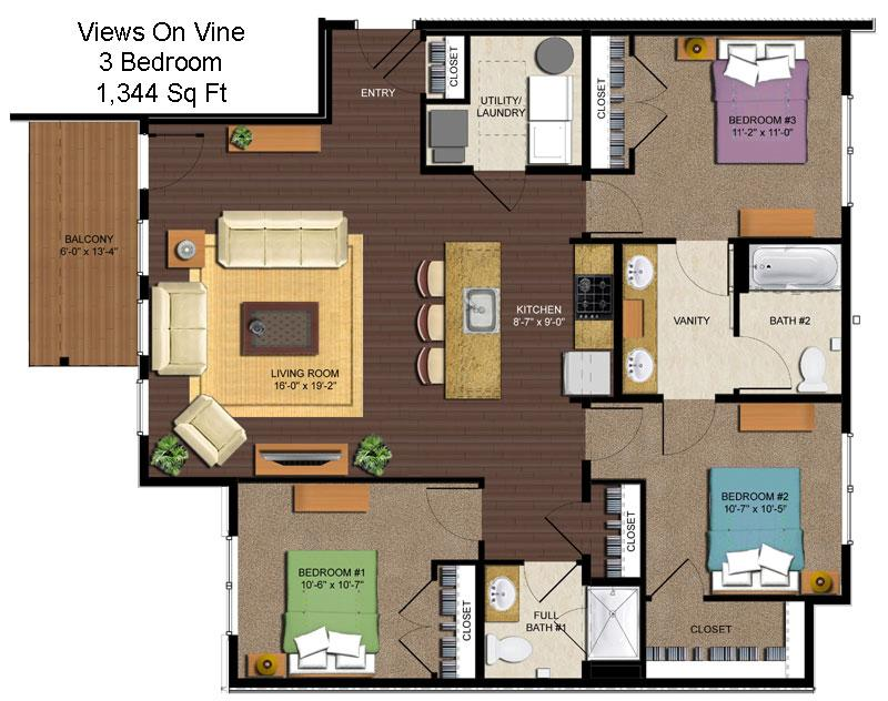 3 Bedrooms 2 Bathrooms Apartment for rent at Views On Vine in Cincinnati, OH