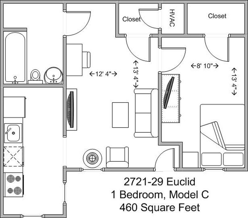 1 Bedroom 1 Bathroom Apartment for rent at Euclid Court in Cincinnati, OH