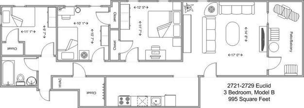 3 Bedrooms 1 Bathroom Apartment for rent at Euclid Court in Cincinnati, OH