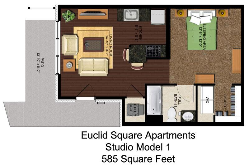 Studio 1 Bathroom Apartment for rent at Euclid Square in Cincinnati, OH