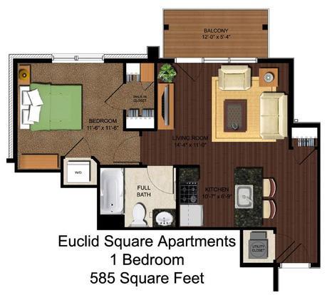 1 Bedroom 1 Bathroom Apartment for rent at Euclid Square in Cincinnati, OH
