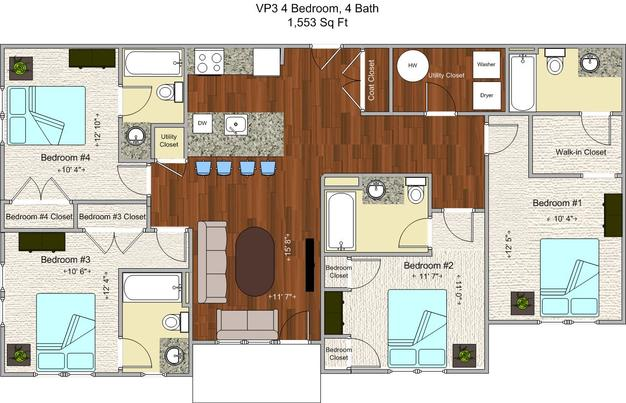4 Bedrooms 3 Bathrooms Apartment for rent at V P 3 in Cincinnati, OH