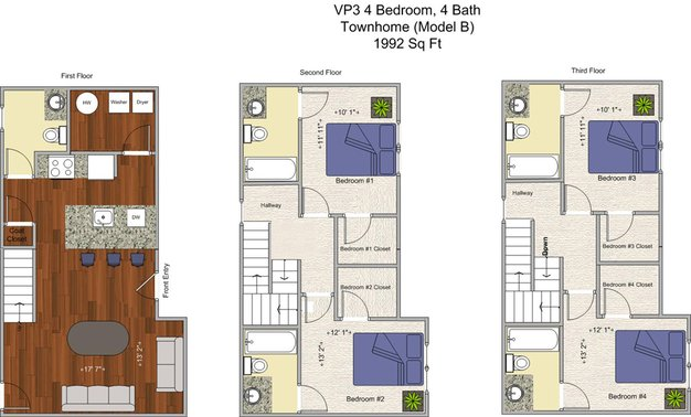 4 Bedrooms 4+ Bathrooms Apartment for rent at V P 3 in Cincinnati, OH