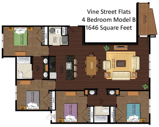 4 Bedrooms 2 Bathrooms Apartment for rent at Vine Street Flats in Cincinnati, OH