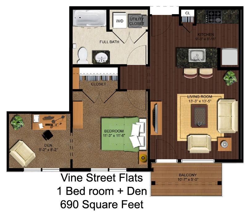 1 Bedroom 1 Bathroom Apartment for rent at Vine Street Flats in Cincinnati, OH