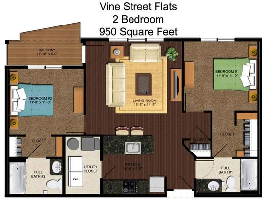 2 Bedrooms 2 Bathrooms Apartment for rent at Vine Street Flats in Cincinnati, OH
